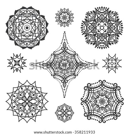 Mandala pattern.Vintage vector decorative ornament.Hand drawn background.East,Islam, Arabic,Indian,ottoman motifs.Abstract Tribal,ethnic texture.Orient,symmetry lace,meditation symbols.Sacred geometry - stock vector