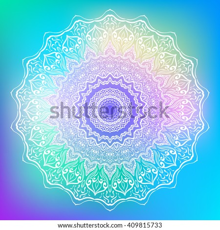 Mandala. Round Ornament Pattern on bright abstract background. Geometric circle element/. Spiritual and ritual symbol of Islam, Arabic, Indian religions. Oriental motifs. Ottoman design. Vector. - stock vector