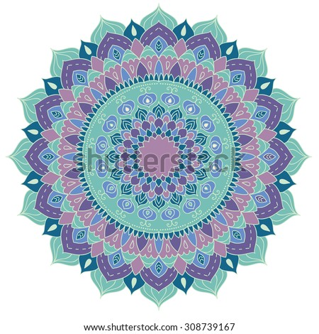 Mandala. Round Ornament Pattern. Vintage decorative elements. Hand drawn background. Islam, Arabic, Indian motifs. - stock vector