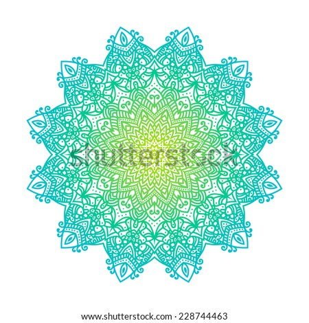 Mandala -round vector ornament. Traditional indian symbol. Geometric circle element. Hand drawn vintage spiritual and meditation icon. Graphic template for your design. Isolated on white background. - stock vector