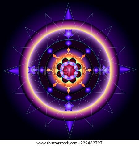 Mandala star birth - stock vector