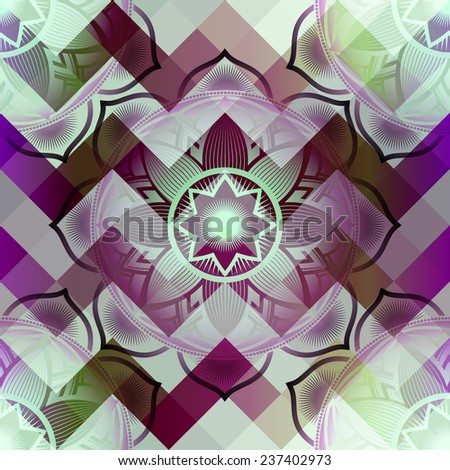Mandala symbol seamless pattern on pixels background. - stock vector