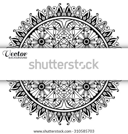 Mandala. Vector horizontal background with tribal ethnic motif. Hand drawn geometric pattern, elements for invitation or greeting cards, Islamic, Arabian, Indian ornament. Black and white - stock vector