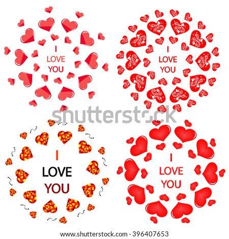 Mandala with hearts. It can be used for declarations of love as a decoration for the wedding menu, discount cards romantic stores and other applications - stock vector