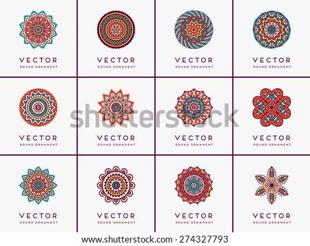 Mandalas collection. Round Ornament Pattern. Vintage decorative elements. Hand drawn background. Islam, Arabic, Indian, ottoman motifs. - stock vector