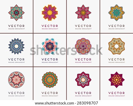 Mandalas collection. Vintage decorative elements. Hand drawn background. Islam, Arabic, Indian, ottoman motifs. - stock vector