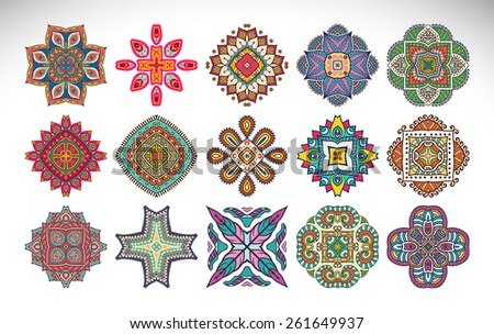 Mandalas. Ethnic decorative elements. Hand drawn background. Islam, Arabic, Indian, ottoman motifs.  - stock vector