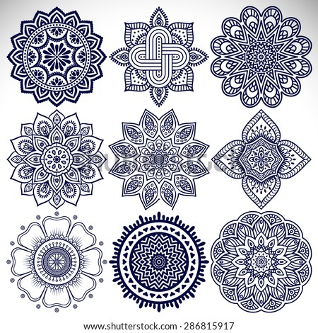 Mandalas. Vintage decorative elements. Hand drawn background. Islam, Arabic, Indian, ottoman motifs. - stock vector