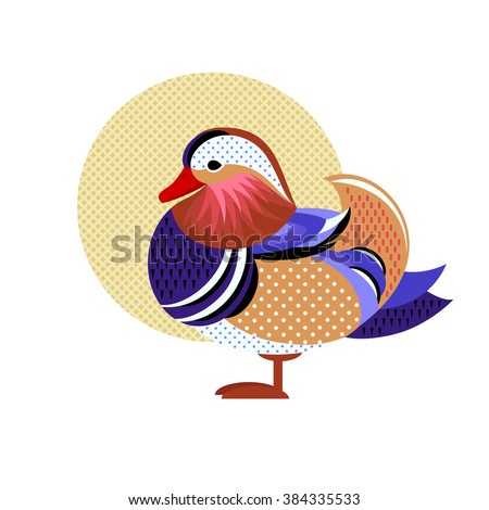 Mandarin Duck. Vector image of a flat figure bird. Simplified design of bird from the wild. Graphic illustration of colored exotic bird isolated on white background. Water bird. - stock vector