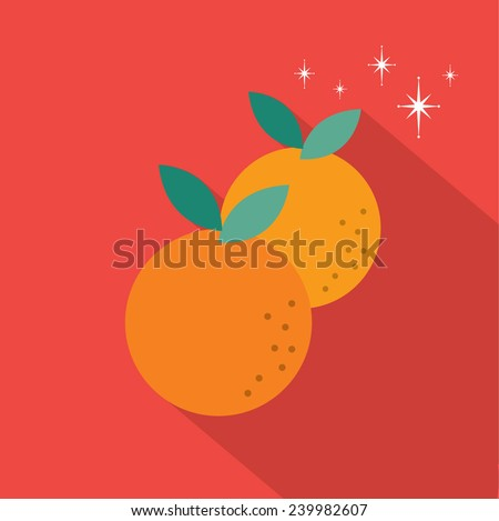mandarin orange long shadow flat design vector/illustration - stock vector