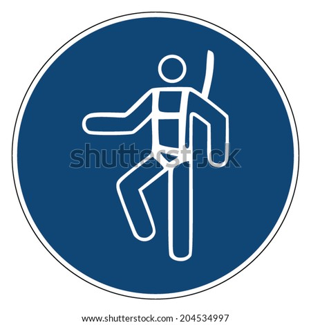 Mandatory action sign, USE SAFETY HARNESS - stock vector