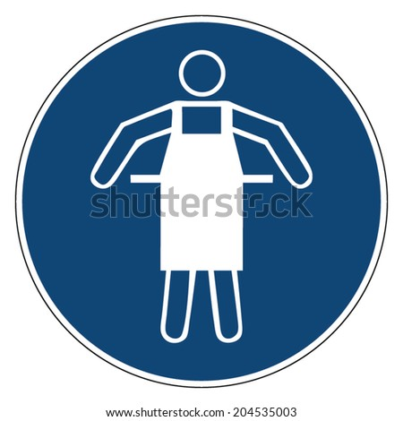 Mandatory action sign, WEAR PROTECTIVE APRON - stock vector