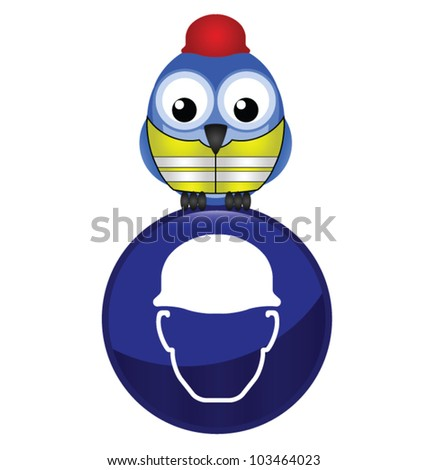 Mandatory construction hardhat sign with bird wearing protection clothing - stock vector