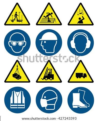 Mandatory construction manufacturing and engineering health and safety signs to current British Standards and hazard warning signs isolated on white background - stock vector