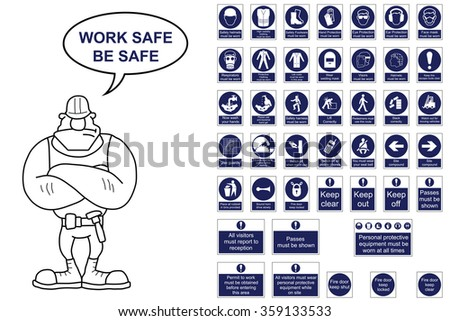 Mandatory construction signage collection isolated on white background with work safe be safe message - stock vector