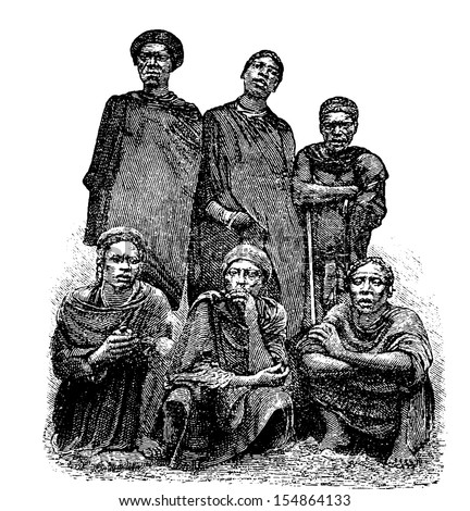Mandombe Men of Congo, Central Africa, engraving based on the English edition, vintage illustration. Le Tour du Monde, Travel Journal, 1881 - stock vector