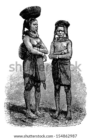 Mandombe Women Coal Vendors of Congo, Central Africa, engraving based on the English edition, vintage illustration. Le Tour du Monde, Travel Journal, 1881 - stock vector