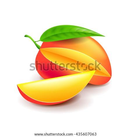 Mango isolated on white photo-realistic vector illustration - stock vector