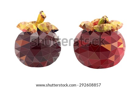 Mangosteen polygon vector illustration - stock vector