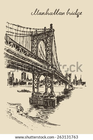 Manhattan bridge (New York, United States), vintage engraved illustration, hand drawn, sketch - stock vector