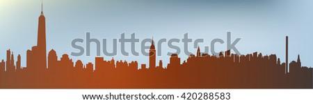 Manhattan skyline - stock vector