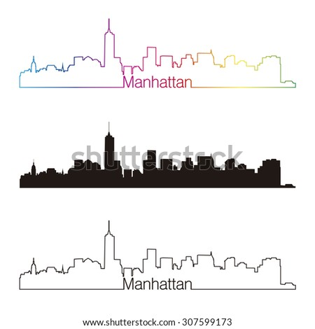 Manhattan skyline linear style with rainbow in editable vector file - stock vector