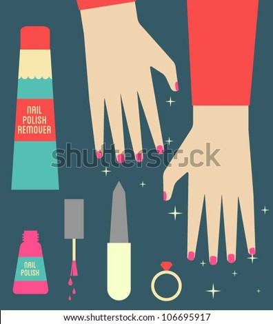 Manicured hands and nails - stock vector