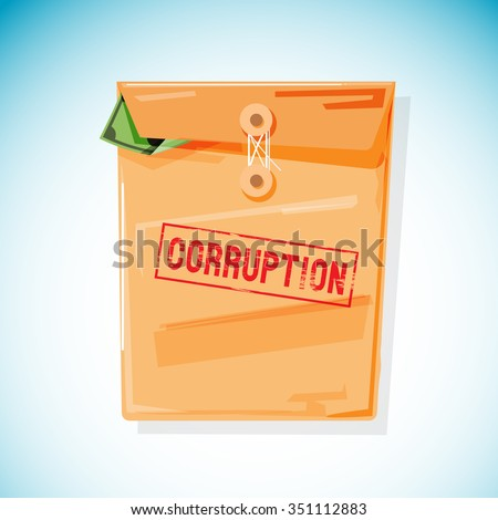 manila envelope fill with money inside. corruption concept - vector illustration - stock vector