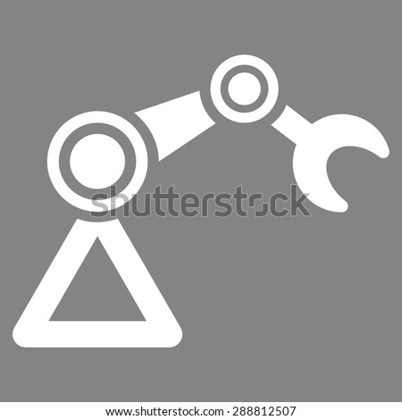 Manipulator icon from Business Bicolor Set. This flat vector symbol uses white color, rounded angles, and isolated on a gray background. - stock vector