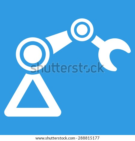 Manipulator icon from Business Bicolor Set. This flat vector symbol uses white color, rounded angles, and isolated on a blue background. - stock vector