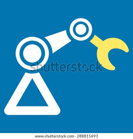 Manipulator icon from Business Bicolor Set. This flat vector symbol uses yellow and white colors, rounded angles, and isolated on a blue background. - stock vector