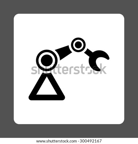 Manipulator icon. This flat rounded square button uses black and white colors and isolated on a gray background. - stock vector