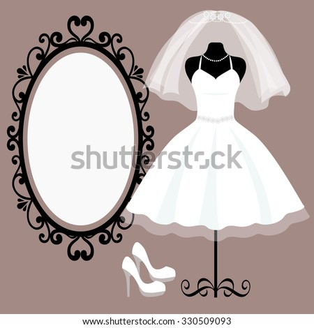 mannequin and wedding dress and a mirror - stock vector