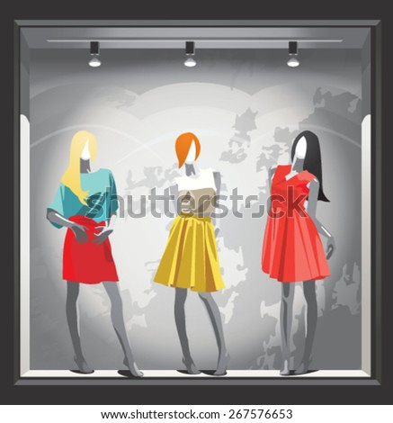 mannequins in bright clothes in a shop window  - stock vector