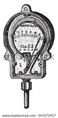 Manometer, Bourdon, a metal ring, vintage engraved illustration. Industrial encyclopedia E.-O. Lami - 1875. - stock vector