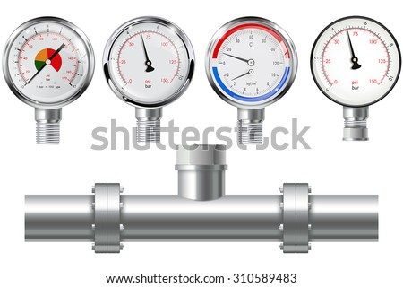 Manometer set and chrome pipe with flange. Vector isolated on white. - stock vector
