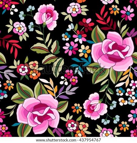 Manton Shawl, Spanish Floral Print ~ seamless background - stock vector