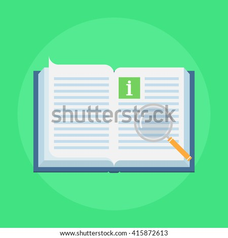 Manual book vector icon in flat style. Concept user manual isolated on colored background. Illustration of instruction manual in the form of open book. Design manual sign. - stock vector