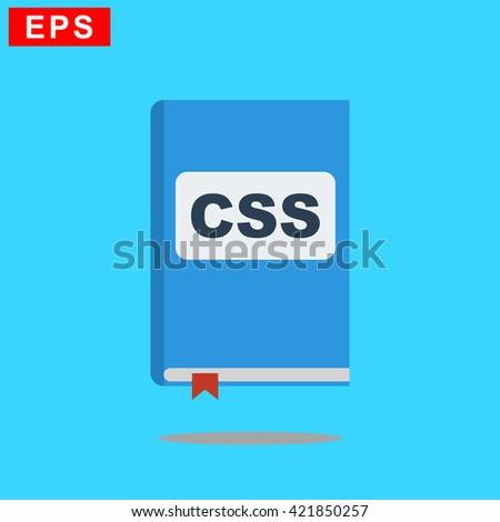 manual css book icon, vector handbook css icon, isolated book icon - stock vector