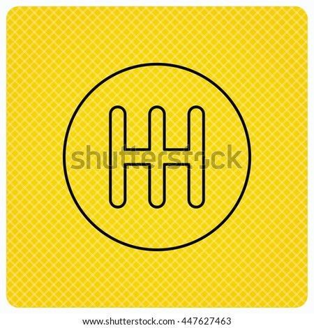 Manual gearbox icon. Car transmission sign. Linear icon on orange background. Vector - stock vector