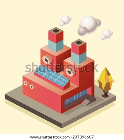 Manufacture Factory building. isometric vector illustration - stock vector