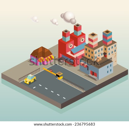 Manufacture Factory district area. isometric vector illustration - stock vector