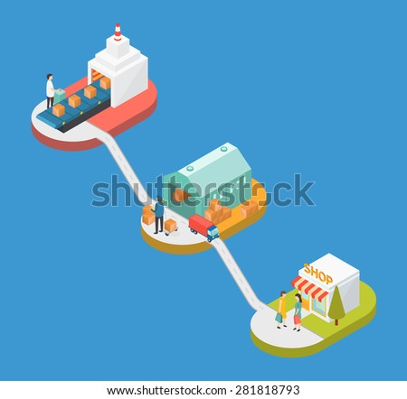 Manufacture Logistic flat 3d web isometric infographic concept vector - stock vector