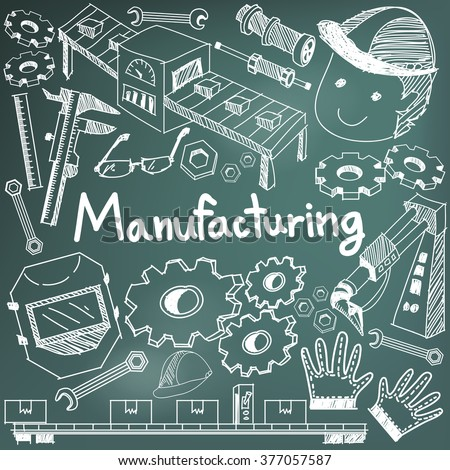 Manufacturing and operation system in factory production assembly line handwriting doodle sketch tools sign and symbol in blackboard background for education  presentation or introduction (vector) - stock vector