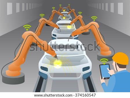 manufacturing line of a automotive factory and welding robots, controlled by engineer with tablet device, internet of things, industry4.0, factory automation image, vector illustration - stock vector