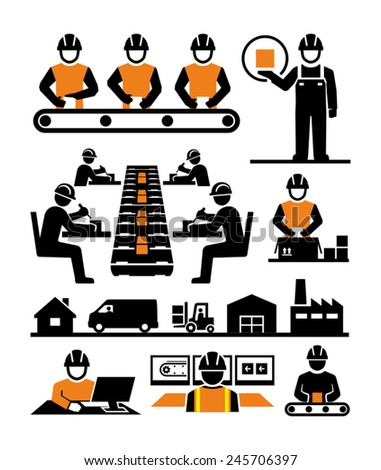 Manufacturing process assembly workers vector icons - stock vector