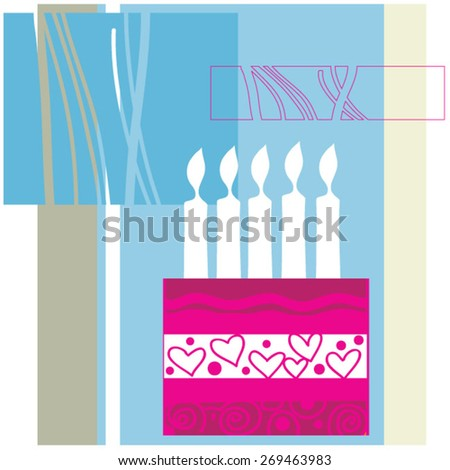 Many candles in birthday cake  - stock vector