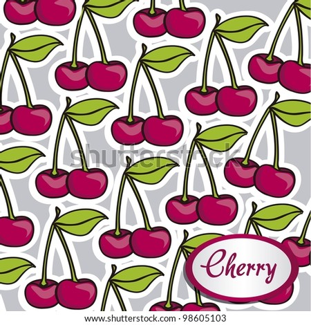 Many cartoon cherries with a white border on each other, background - stock vector