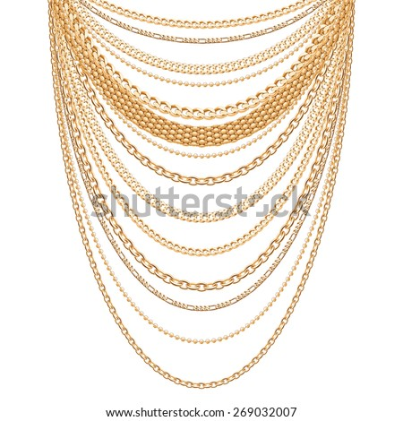 Many chains golden metallic necklace. Personal fashion accessory design. - stock vector