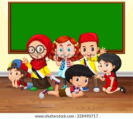 Many children in the classroom illustration - stock vector
